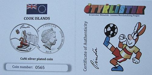 2013_1_dollar_Cook_Islands_ctyrlistek_proof_certifikat_Pinda