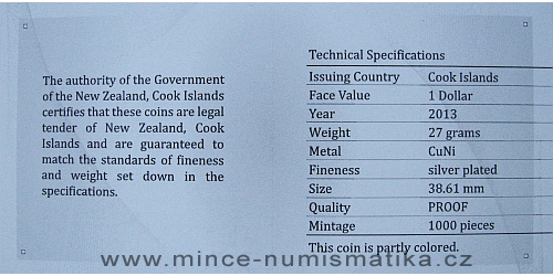 2013_1_dollar_Cook_Islands_ctyrlistek_proof_certifikat_revers