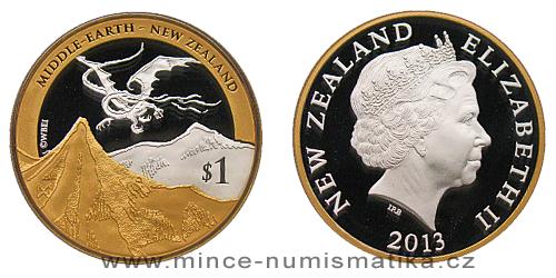 2013 - 1 $ Nový Zéland - The Hobbit - Šmakova dračí poušť Ag pozlaceno