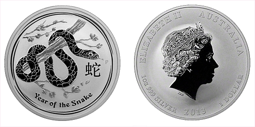 2013 - 1 dollar - Year of the Snake Ag (Australia Lunar II.)