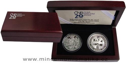 Sada stříbrných mincí ke 20. výročí České národní banky a ke 20. výročí Národní banky Slovenska