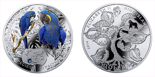 2014 - 1 $ Niue - Ara Hyacintový (Hyacinth Macaw)