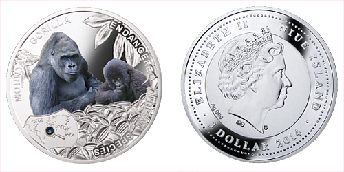 2014 - 1 $ Niue - Gorila Horská (Mountain Gorilla)