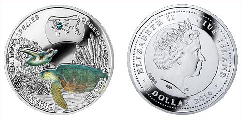 2014 - 1 $ Niue - Kareta obecná (Loggerhead Sea Turtle)