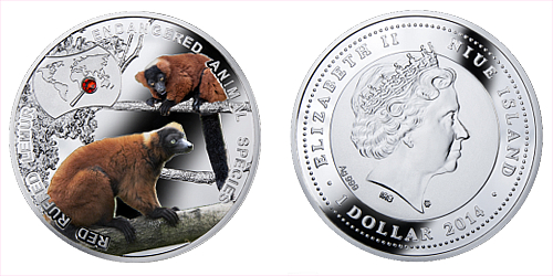 2014 - 1 $ Niue - Lemur Červený (Red Ruffed Lemur)