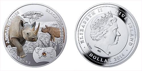 2014 - 1 $ Niue - Nosorožec Dvourohý (Black Rhinoceros)