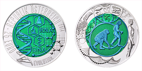 2014 - 25 € Rakousko - Evoluce/DNA (bimetalová mince)