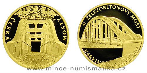 5000 Kč - Železobetonový most v Karviné-Darkově