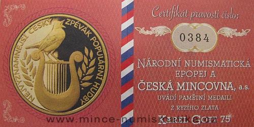2014_medaile_Au_Karel_Gott_mala_3_certifikat_revers