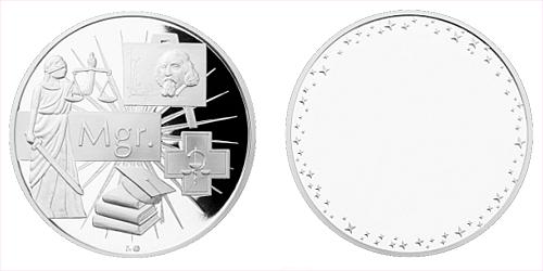 Stříbrná titulární medaile Mgr. s věnováním