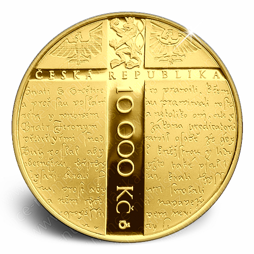 2015_10000Kc_Mistr_Jan_Hus_Au_mince_proof_avers
