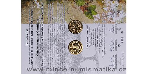 Památný list mince 100 € Svetové dedičstvo UNESCO Karpatské bukové pralesy