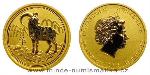 2015 - 15 dollars Austrálie - Year of the Goat Au 1/10 Oz