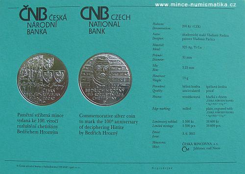 2015_200Kc_Bedrich_Hrozny_Chetitstina_certifikat