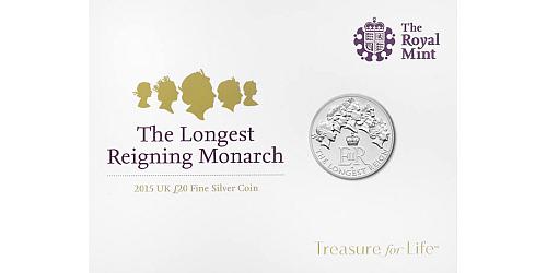 2015 - 20 £ Velká Británie - Alžběta II. - Nejdéle vládnoucí panovnice (stříbro)