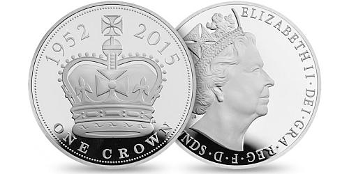 2015 - 5 £ Velká Británie - Alžběta II. - Nejdéle vládnoucí panovnice (stříbro)