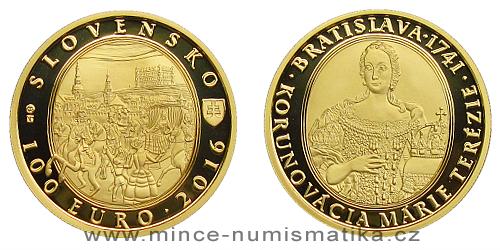 100 € - Bratislavské korunovace - 275. výročí korunovace Marie Terezie + pamětní list