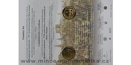 Památný list mince 100 €- 275. výročí korunovace Marie Terezie