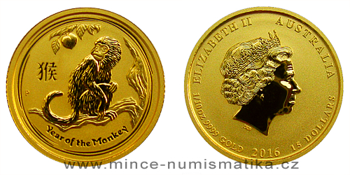 2016 - 15 dollars Austrálie - Year of the Monkey Au 1/10 Oz