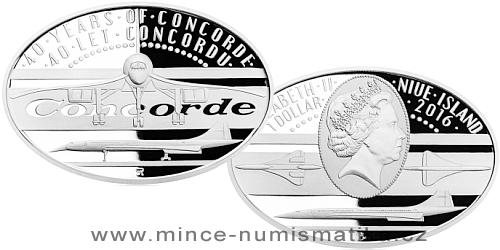 Stříbrná mince 1 NZD 40 let Concordu