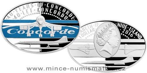 Stříbrná mince 1 NZD 40 let Concordu kolorováno