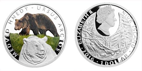 Stříbrná mince 1 NZD Medvěd hnědý