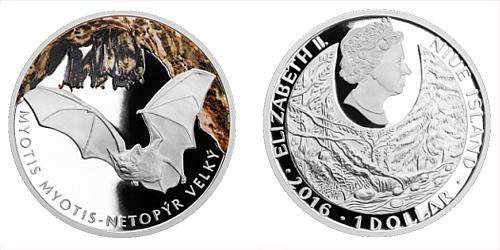 Stříbrná mince 1 NZD Netopýr velký