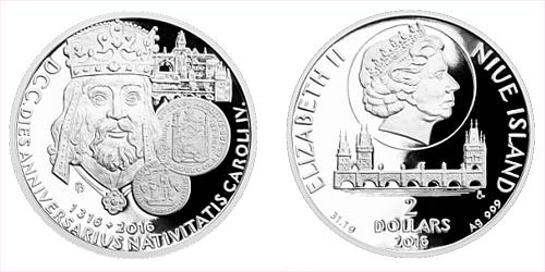 Stříbrná uncová mince 2 NZD 700. výročí narození Karla IV.
