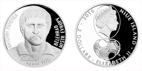 Stříbrná mince 2 NZD Antonín Panenka