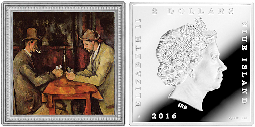 2016 - 2 $ Niue - The Card Players by Paul Cezanne