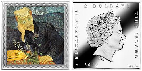 2016 - 2 $ Niue - Portrait of doctor Gachet by Vincent van Gogh