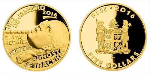 Zlatá čtvrtuncová mince 5 FJD Arnošt Petráček