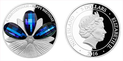 Stříbrná mince 5 NZD CRYSTAL COIN - K narozeninám