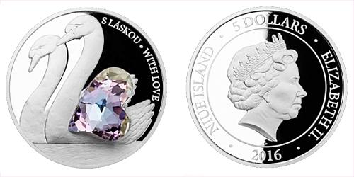 Stříbrná mince 5 NZD CRYSTAL COIN - S láskou