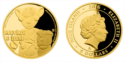 Zlatá mince 5 NZD Hurvínek a Žeryk