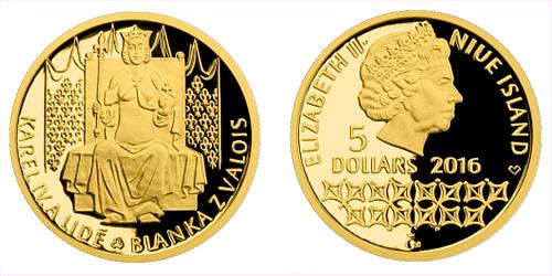 Zlatá mince 5 NZD Karel IV. a lidé - Blanka z Valois