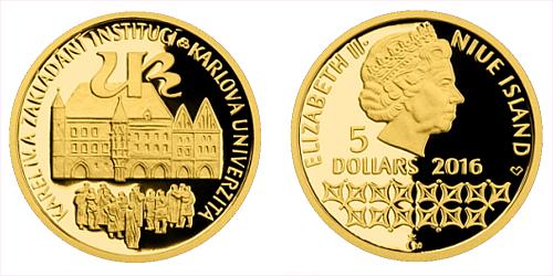 Zlatá mince 5 NZD Karel IV. a zakládání institucí - Karlova univerzita