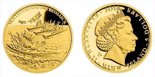 Zlatá mince 5 NZD Potopení Bismarcku