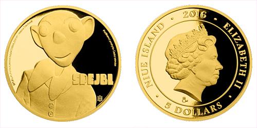 Zlatá mince 5 NZD Spejbl