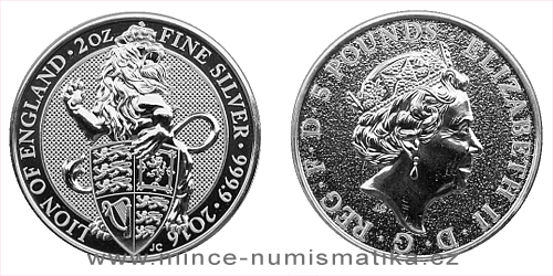 2016 - 5 £ Velká Británie - The Queen's Beasts The Lion 2 Oz