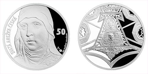 Stříbrná medaile s motivem 50 Kč bankovky - sv. Anežka Česká