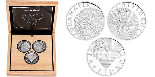 Sada tří stříbrných medailí Václav Havel - dramatik, disident, prezident