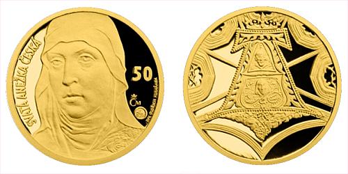 Zlatá medaile s motivem 50 Kč bankovky - sv. Anežka Česká