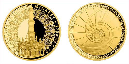 Zlatá uncová medaile Rozhledna Lednický minaret