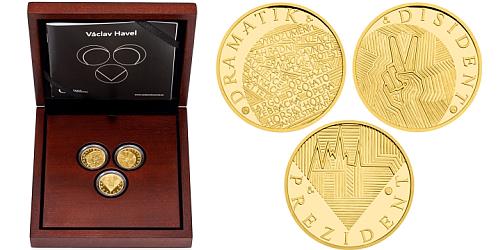 Sada tří zlatých medailí Václav Havel - dramatik, disident, prezident