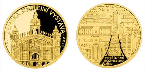 Zlatá půluncová medaile Zemská jubilejní výstava v Praze