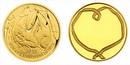 Zlatý dukát k narození dítěte 2016 s věnováním