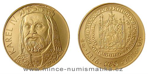 Zlatý dukát Karel IV. k 700. výročí narození 2016