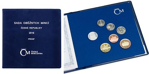 Sada oběžných mincí ČR 2016 - PROOF (semišový obal)