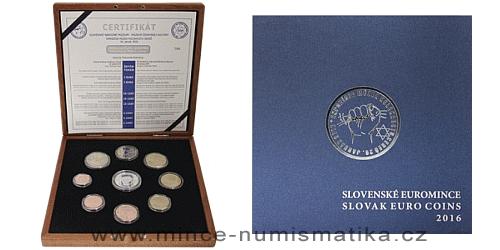 Sada oběžných mincí SR 2016 - SNS -Múzeum židovskej kultúry - PROOF like ve dřevě